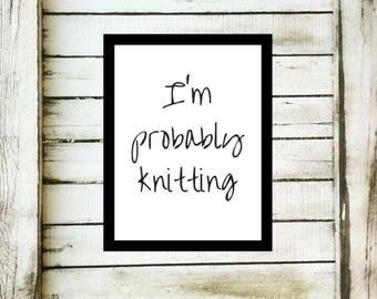 Knitting Print, Knitting Art, Knitters Decor, Digital Knitting Print, Knitting Print Download, Art Print, Digital Knitting Art, Knitter Gift