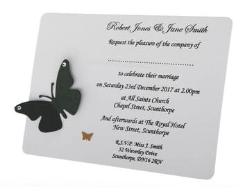 Butterflies with gems wedding,party invitations - emerald, mint, jewel, dark green colours butterfly cards