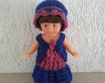 Skirt, vest and hat for mini doll set