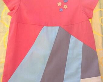Trapeze dress 4t, spring/summer short dress in cotton Poplin, girl dress