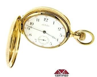 Antique A W Co Waltham J9804 18k Yellow Gold Pocket Hunter Watch