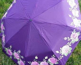UMBRELLA FOLDING PURPLE DECORATED WITH PINK ROSES