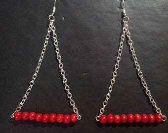 handcrafted red wooden beads earrings