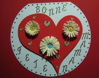 """Happy mother's day"" card hearts and flowers"