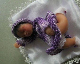 "Polymer clay and cernit ""Blueberry"" miniature baby"