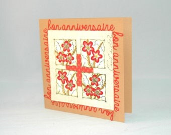 """""""Happy birthday"""" birthday card for woman - red and off-white flowers"""