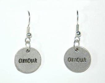 Word love drops earrings
