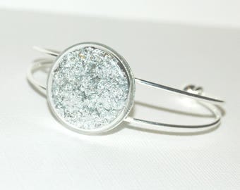 Bangle bubble of glass - silver metal leaf Inclusion