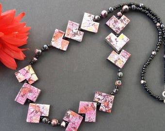 Pink and black polymer clay beads necklace