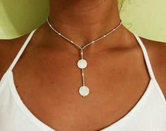 Silver circle drop necklace