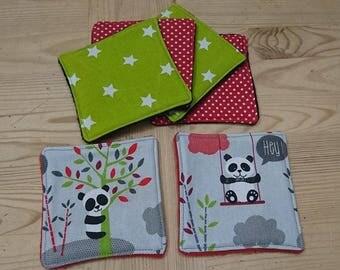 Eco-friendly wipes model panda on gray set of 6