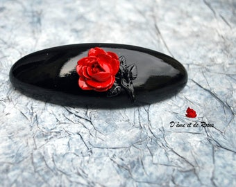 Baroque black with Red Rose hair clip