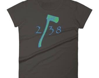 Acts 2:38 Ladies' T-Shirt Ring Spun Cotton Blue Axe