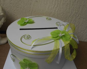 White and lime green URN for wedding-orchids