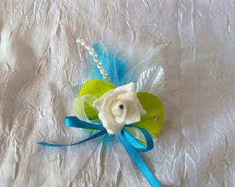 Blue and green color wedding boutonniere