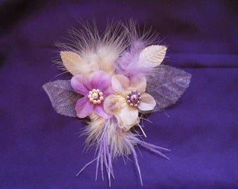 """Hairpin """"wedding procession"""" ivory and mauve"""