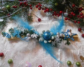 Christmas centerpiece feather butterfly turquoise