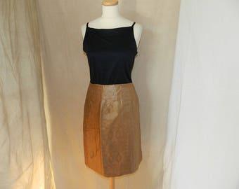 Cotton wrap skirt printed bazin, Brown T40/42
