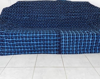 Bedspread and throw no. 04-Ing indigo African fabric in blue. 256 cm x 240 cm