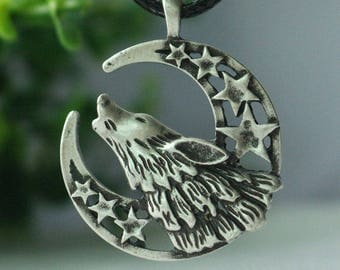 Celestial Howling Wolf Pendant Necklace