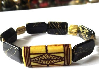 "ETHNIC BRACELET yellow, black and gold, handmade, original ""(TRIBAL)"