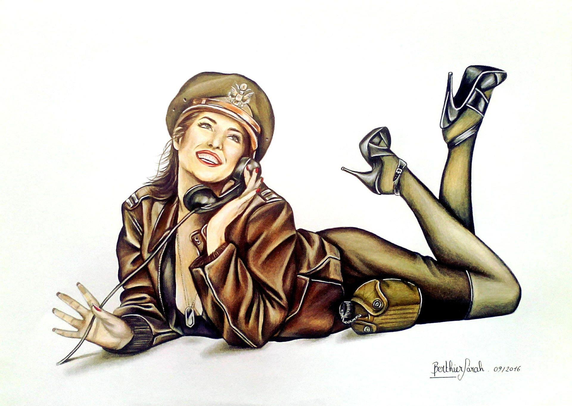 Dessin r tro femme pin up sensuelle militaire - Dessin de militaire ...