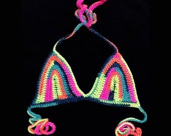 Rainbow Crochet Bikini Top