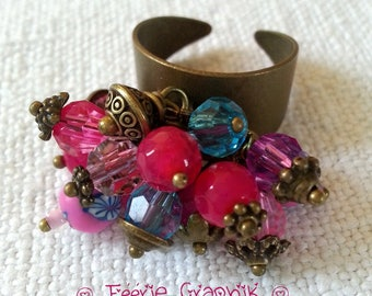 "Ring ""Cluster"" Bohemian Girl pink and blue, OOAK"