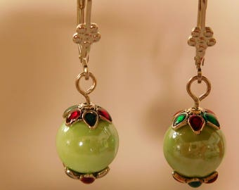 Light green ceramic porcelain bead earrings