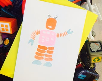 Retro robot greeting card, birthday for him, boys and girls.