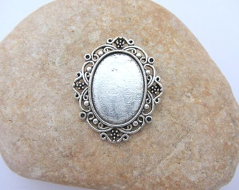 One support glass cabochon pval 18x25, silver, support, cabochon support, necklace making,support cabochon to stick