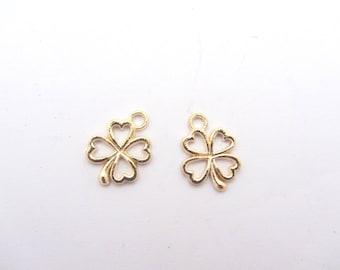 Set of two 4 leaf clover gold