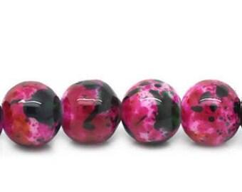 Set of 10 Burgundy black round glass beads