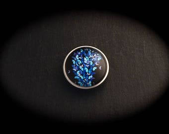 Cabochon pressure 18mm for jewelry - blue butterfly fantasy