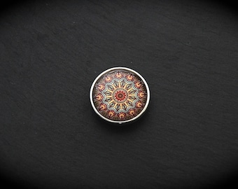 Cabochon 18mm for jewelry - Mandala Brown fancy pressure