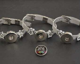 Bracelet Slide mesh Milanese stainless steel medium Cabochon snap 18-20mm (available in 3 versions)