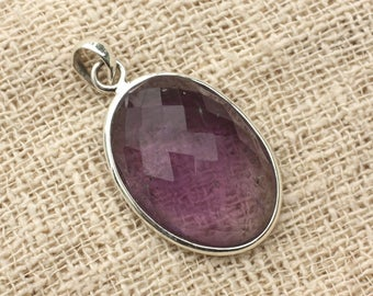 n12 - 925 sterling silver pendant and stone - Amethyst oval Facettee 29x20mm