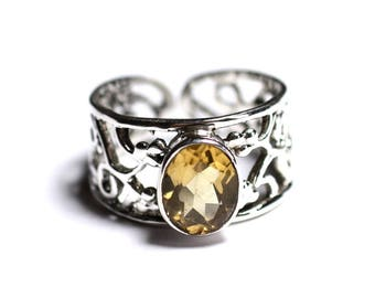 N224 - 925 sterling silver ring and stone - Citrine faceted oval 9x7mm