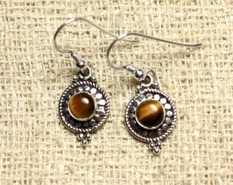 BO210 - circles 19mm Tiger eye 925 Silver earrings