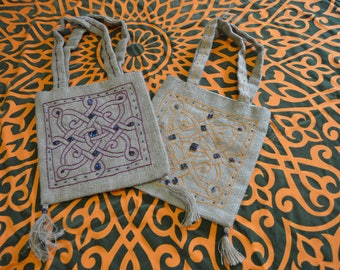 Square Burlap Sack, Handbag - Handmade from Egypt