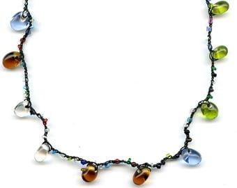 Multicolor necklace, glass beads