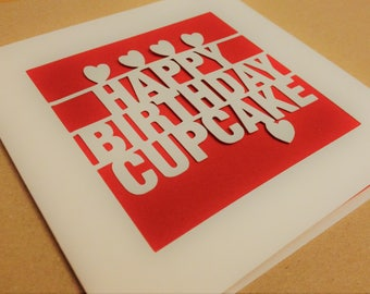 Happy Birthday Cupcake Papercut Greetings Card