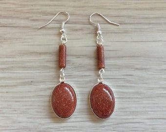 Sunstone (goldstone) earrings