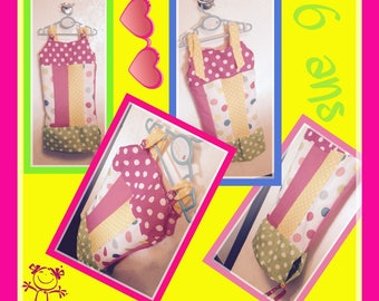 Dress girl 6 multicolor dots cotton fabrics