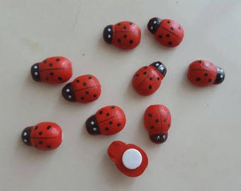 Set of 10 stickers 12 x 9 mm wooden ladybugs