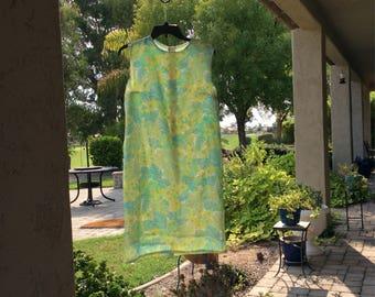 60s shift dress, 1960s shift floral dress, 60s shift lime sherbet, 60s blue turquoise dress, mint green Shift dress, gift