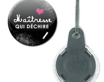 Zipper Badge 25 mm - mistress tearing Blackboard chalk school gift