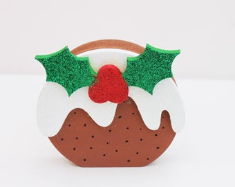 christmas pudding decoration , holly and berries, christmas decoration, tree decoration,  painted festive decor with glitter.