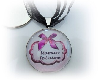 Necklace glass Cabochon 25mm - I love you MOM - metal - organza cord support