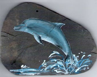 Dolphin leaping acrylic painting on Slate